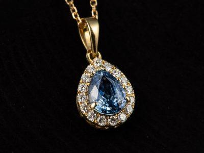 Gull anheng med Safir og Diamanter